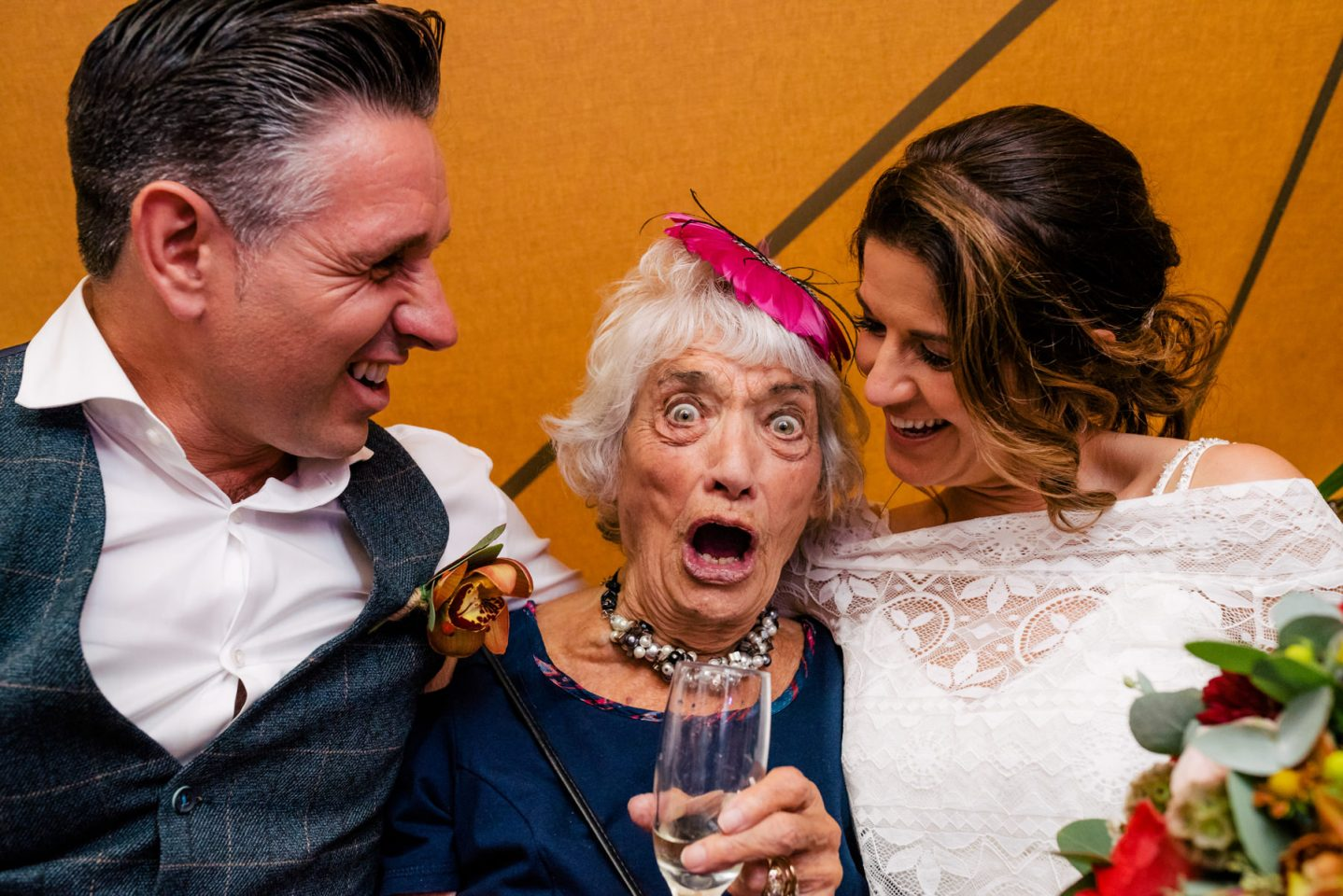 Grandma having a great time at a Yorkshire Wedding