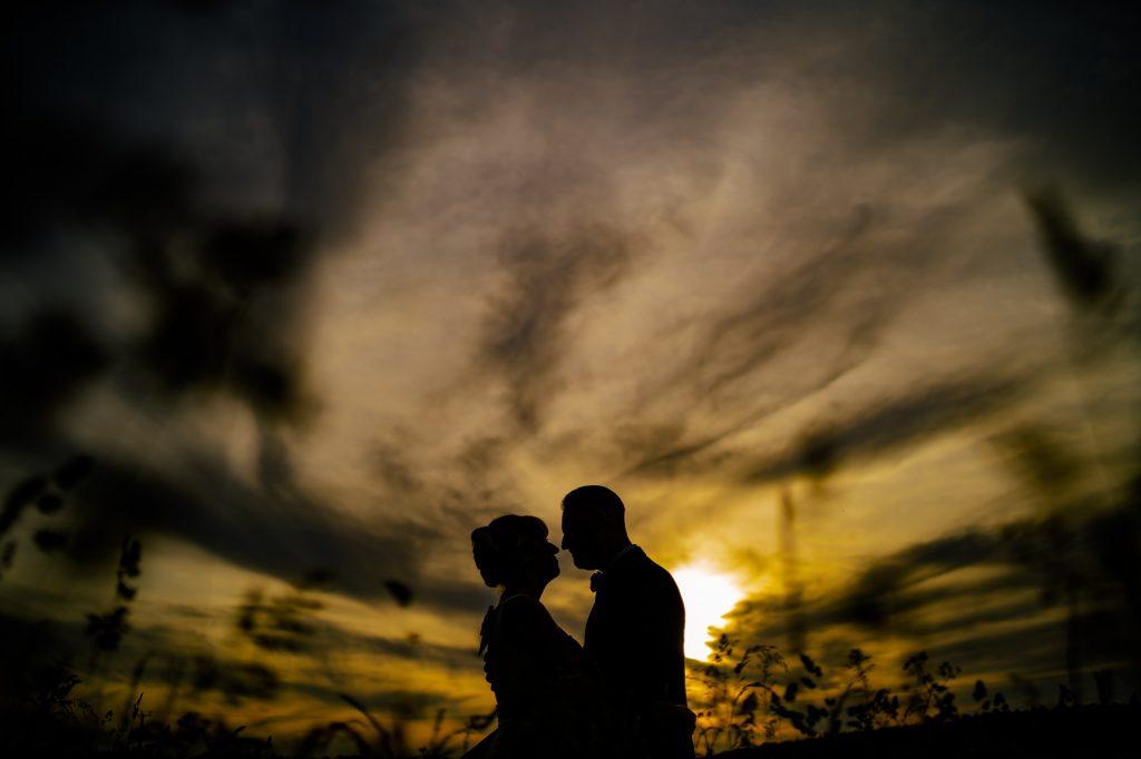 bride and groom portrait silohette