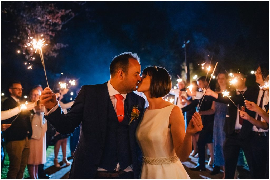 sparklers at York hospitium wedding