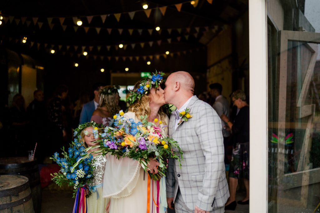 First kiss at Berts Barrow wedding