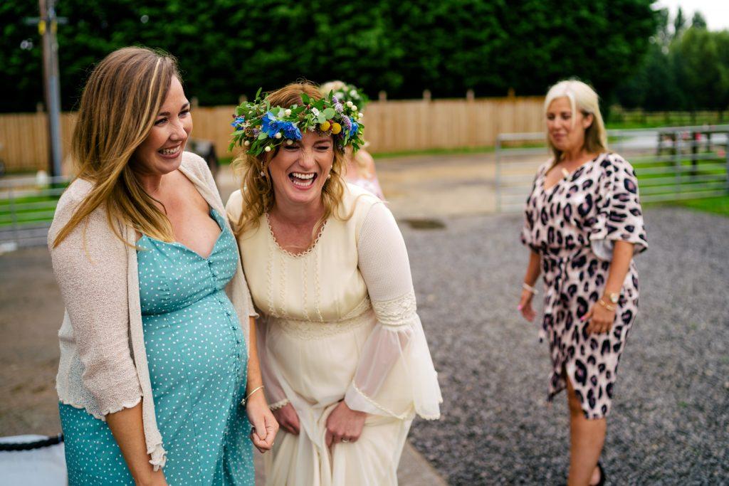 laughing bride at Berts Barrow Wedding