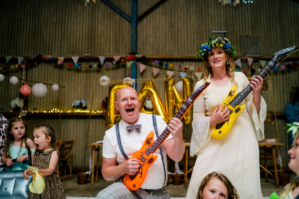 air guitar at wedding