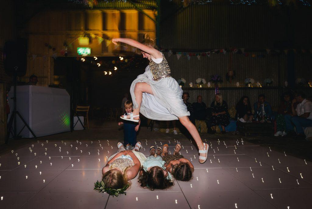 dancefloor action at wedding