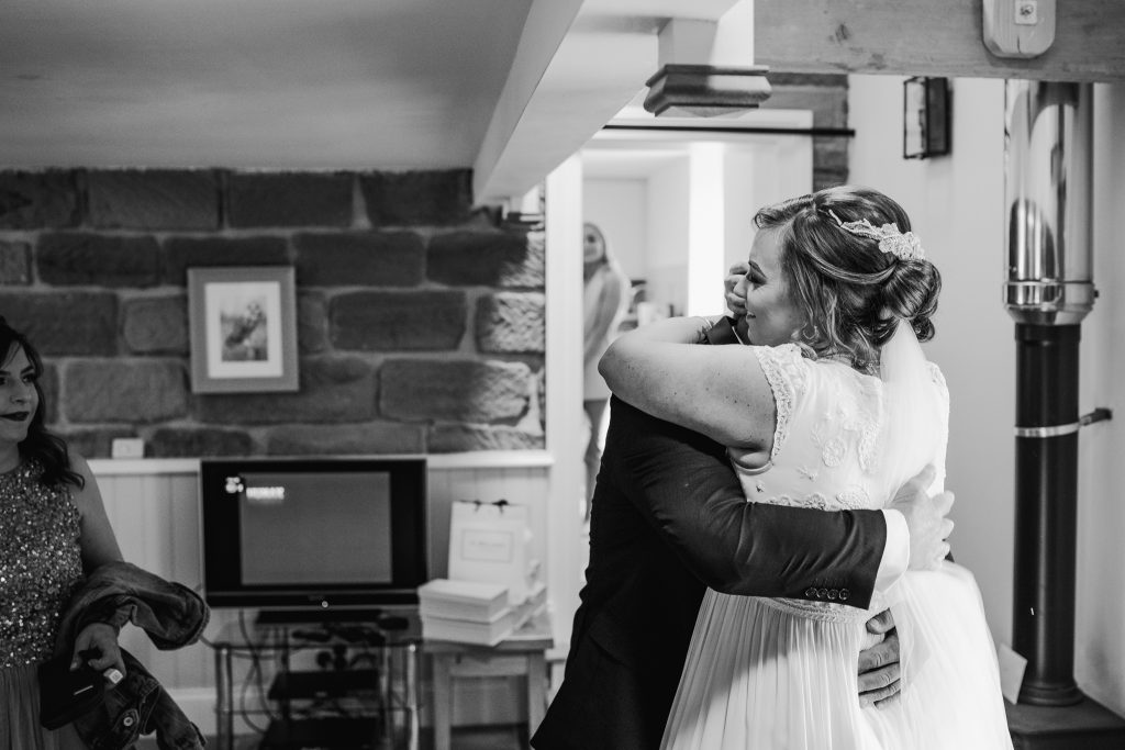 Bride and Father of the bride at Danby Castle Wedding