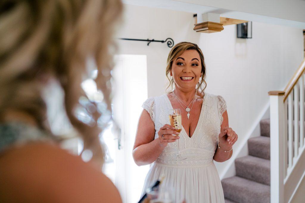 Happy smiling bride at Danby Castle Wedding