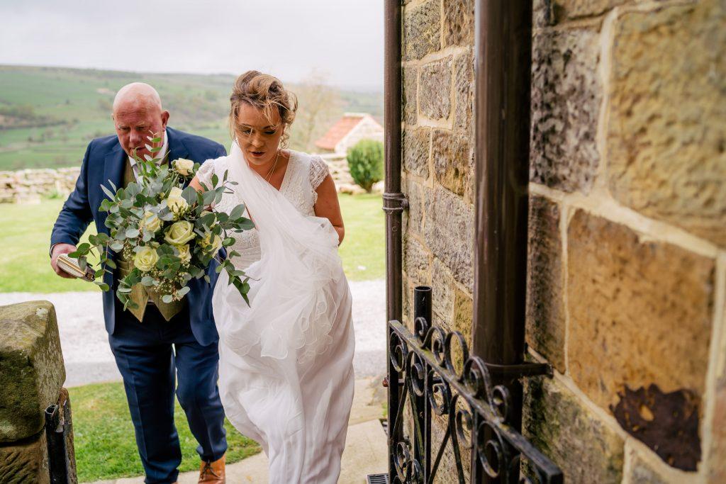 bride arriving at Danby Castle