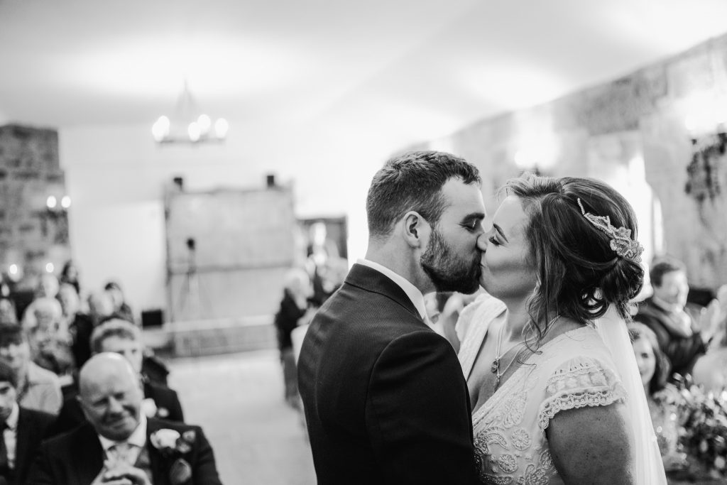 First Kiss at Danby Castle Wedding