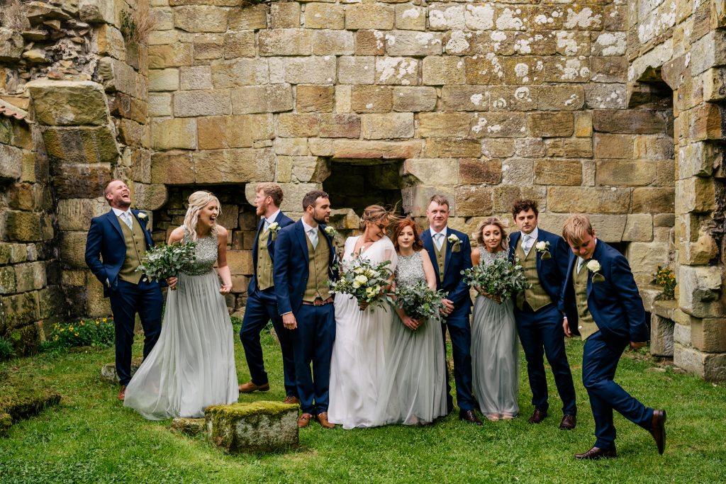 Bridal party at Danby Castle