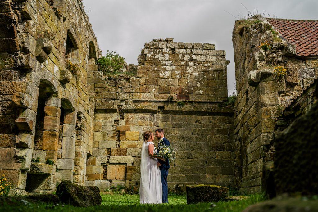 wedding portrait inside Danby Castle