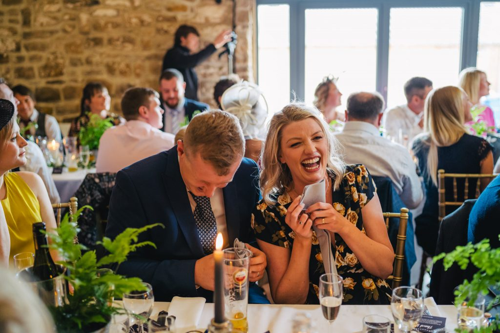 laughing guests at danby castle