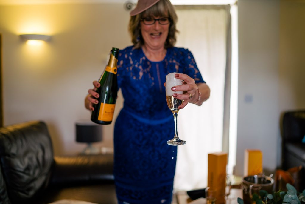 Champagne at Danby Castle Wedding