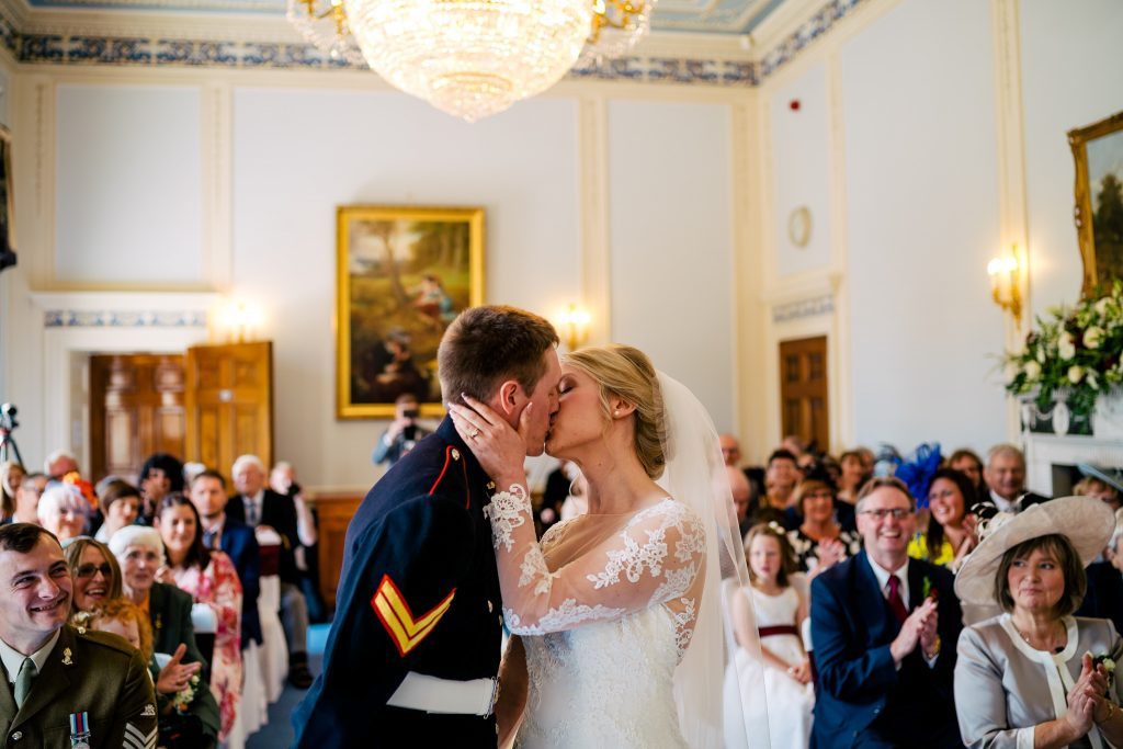 First Kiss during Denton Hall wedding Ceremony