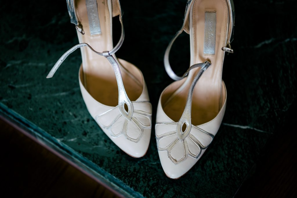 Wedding shoes at Denton Hall