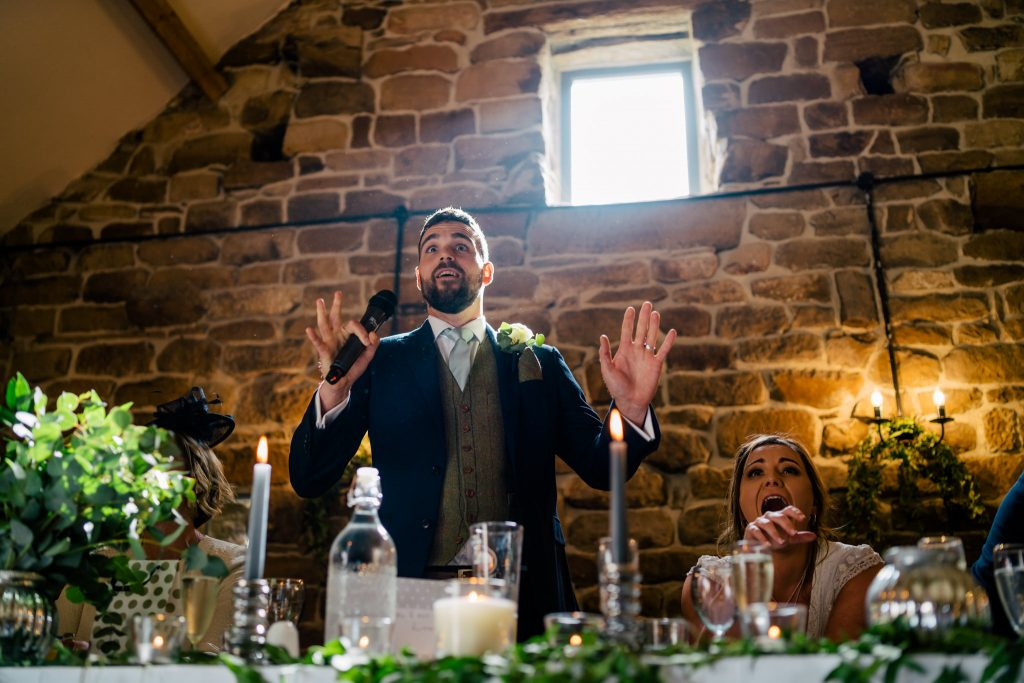 Danby Castle Wedding speeches with Paul and Tim Photography