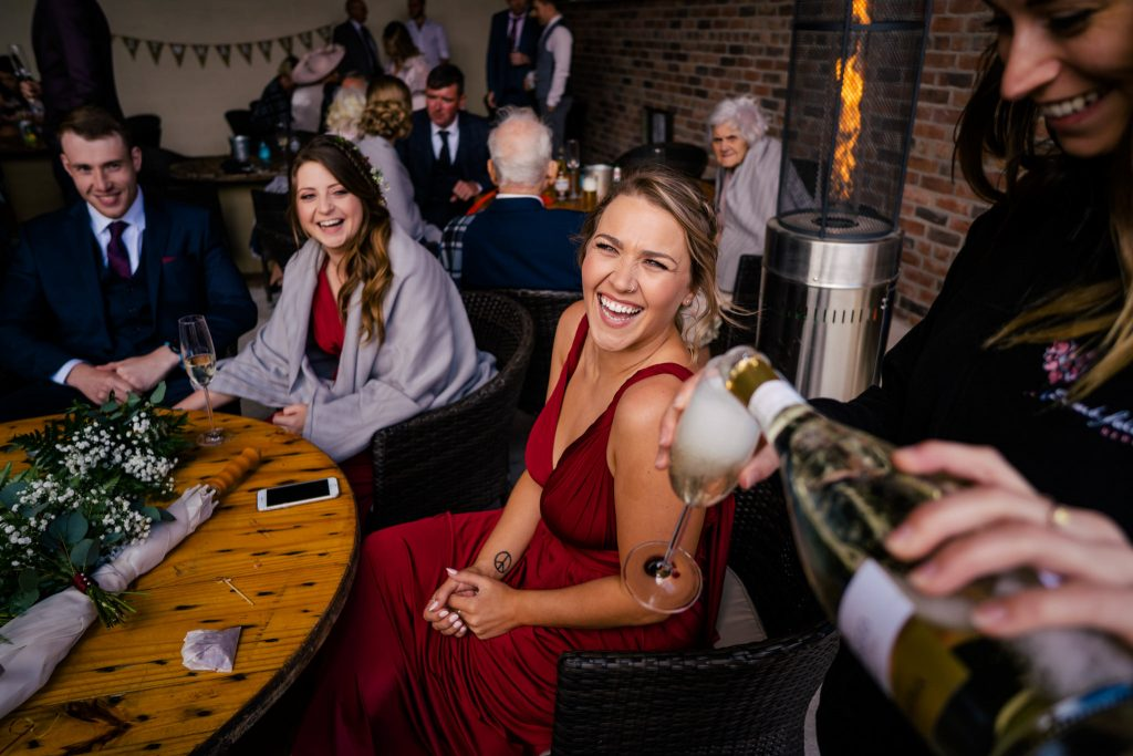 Barmbyfield Moor Barn wedding guest with Paul and Tim Photography