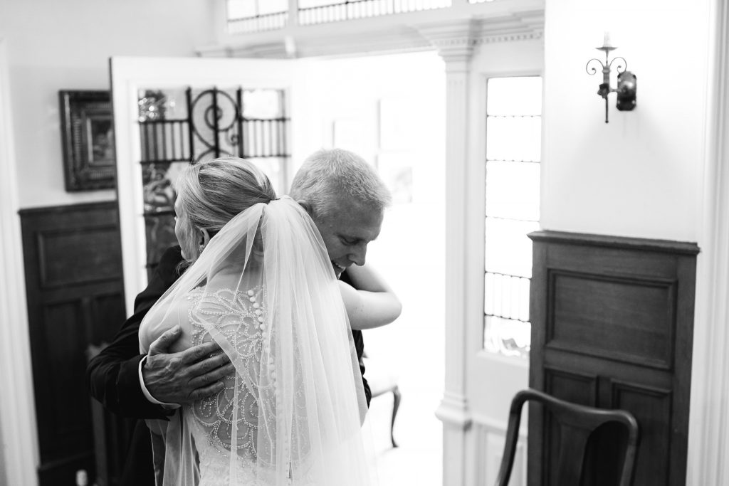 Bride and father hugging at Crow Hill Wedding