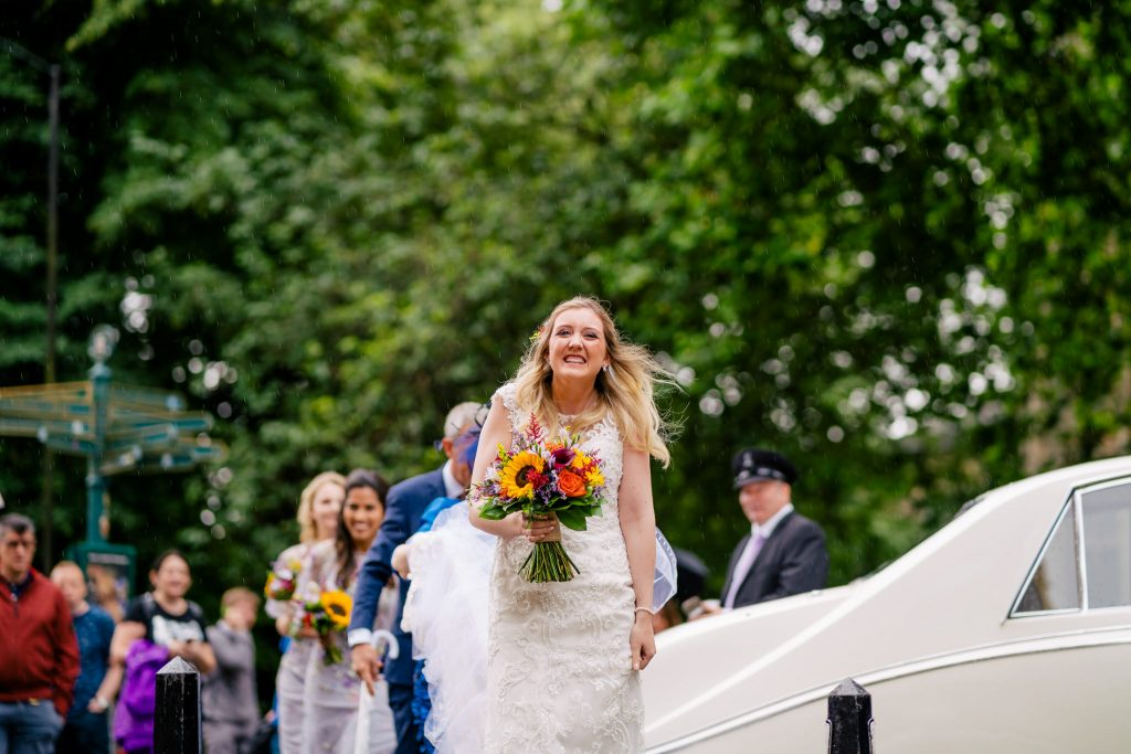 York Minstier Bride arriving with Paul and Tim Photography
