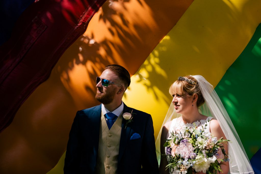 Colourful wedding portrait with Paul and Tim Photography