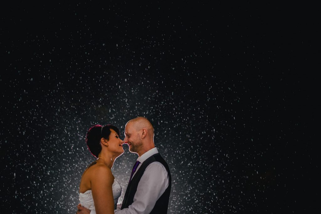 rain wedding portrait