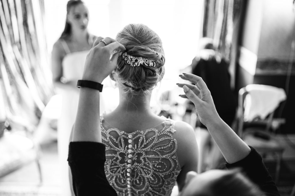 Final bride tweaks at Crow Hill Wedding