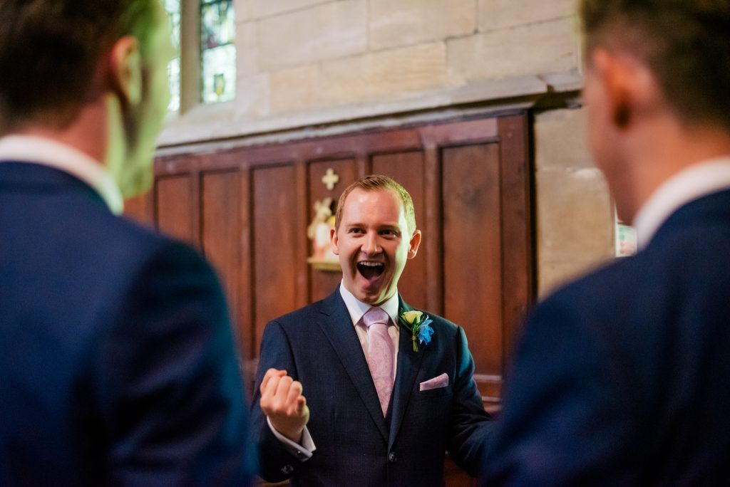 Excited groom at Crow Hill Wedding