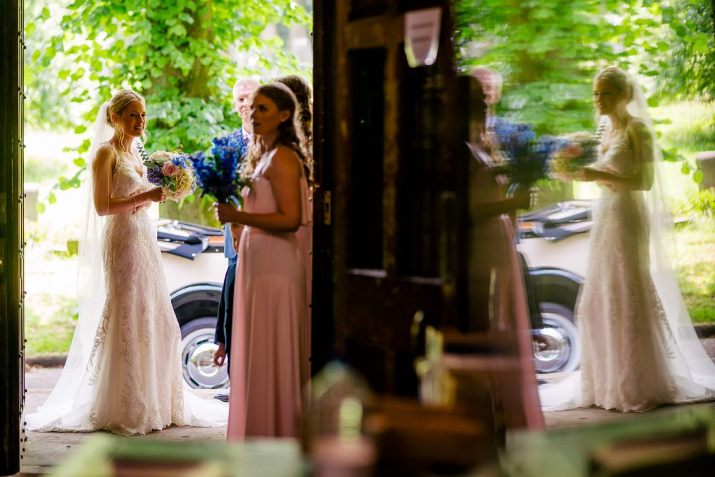 bride reflections at church