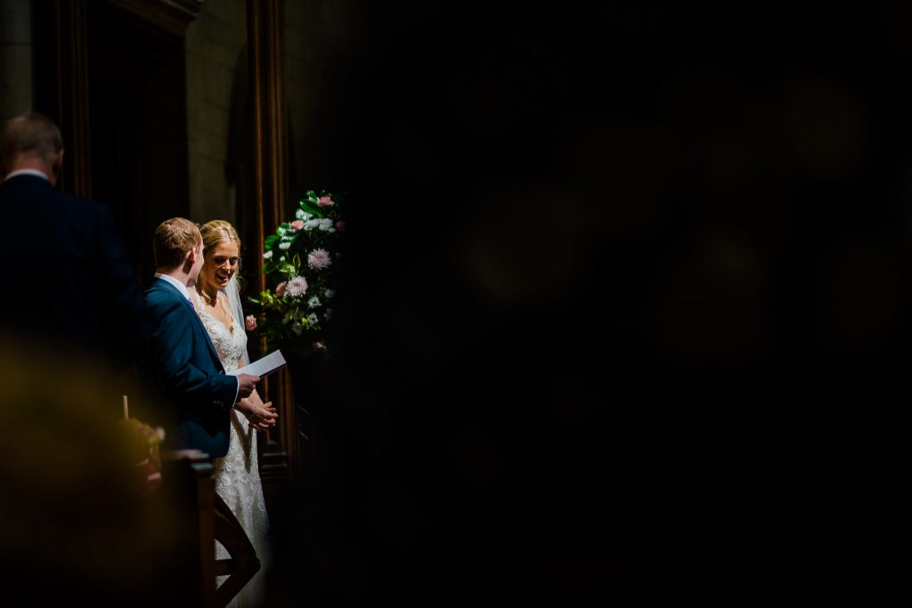 light in a church wedding ceremony