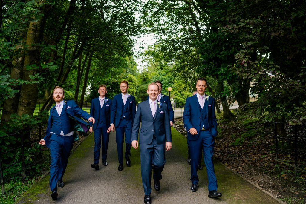 Groomsmen walking at Crow Hill Wedding