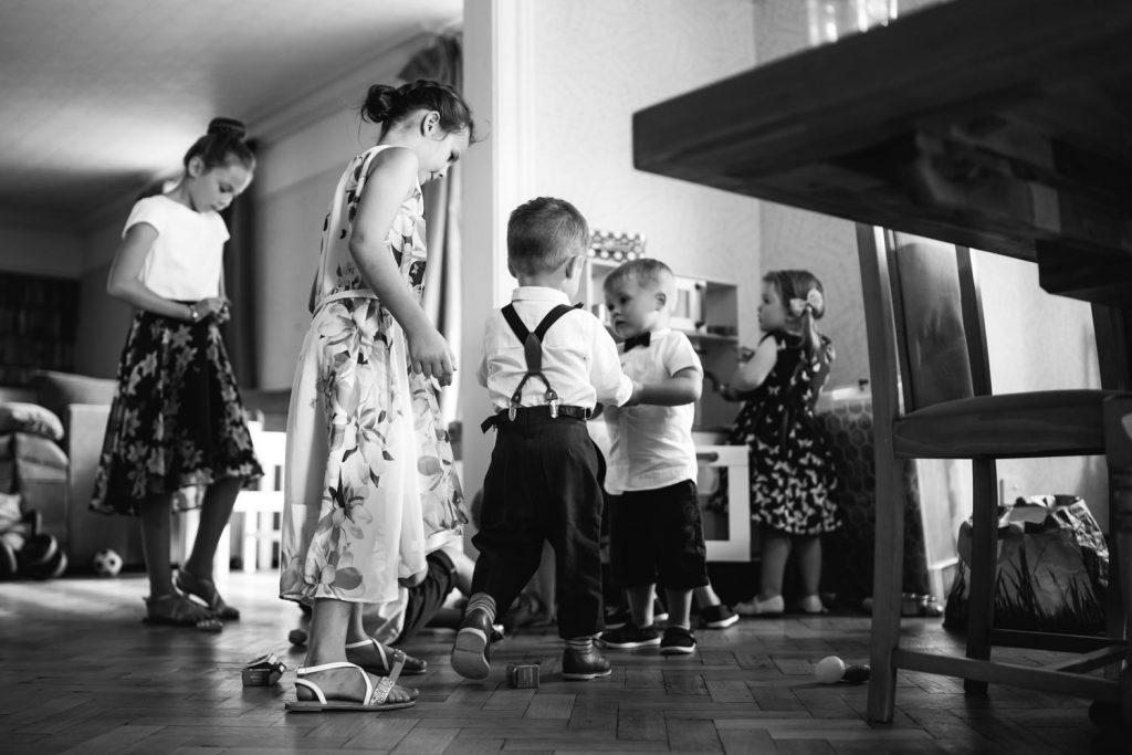 Kids at backyard wedding