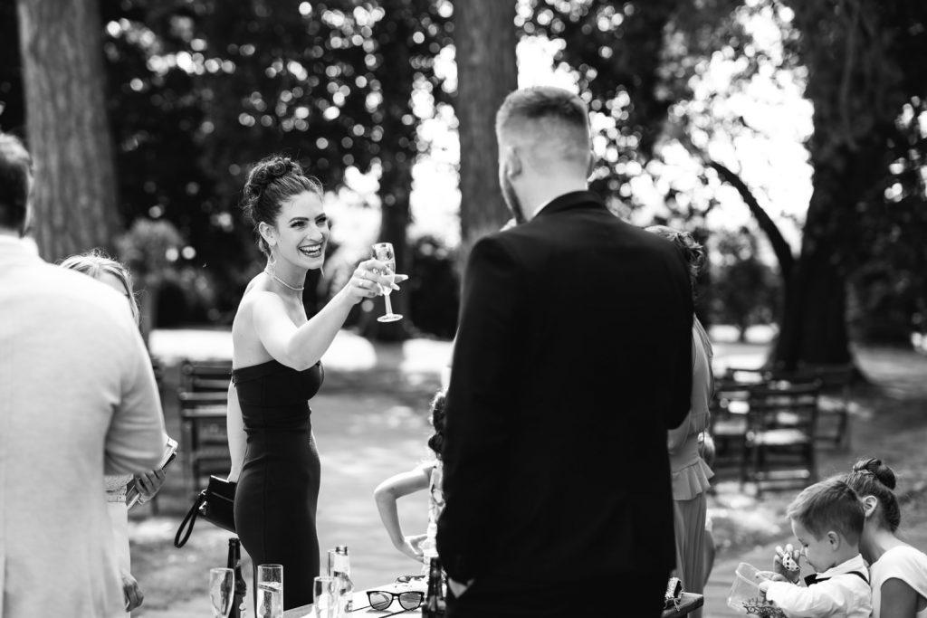 Backyard boho wedding guests