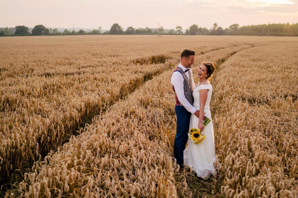 wedding portrait in summer fields