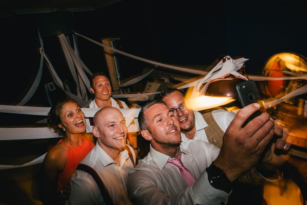 boho wedding party selfie