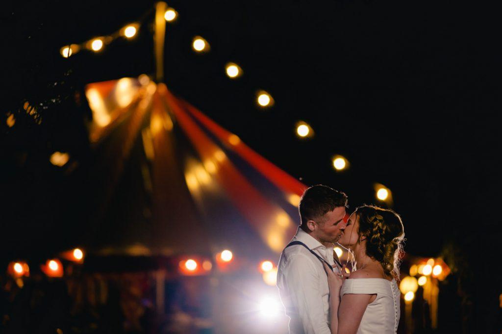 circus tent wedding portrait